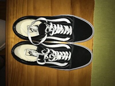 Authentic VANS Old Skool Mens Womens Unisex Black White Canvas Sneakers Shoes