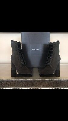 861a8df3 SAINT LAURENT YSL LouLou Suede Lace Up Boot Olive