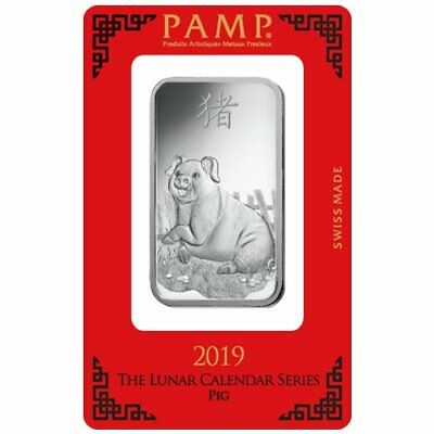 1 Oz. Solid Silver 2019 Pamp Suisse Lunar Pig Bars - Certified W/COA & Numbered