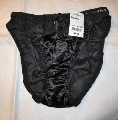 8b76aaef3b NWT Vintage Delicates BLACK SECOND SKIN   LACE Liquid Satin Shiny PANTIES  Size M