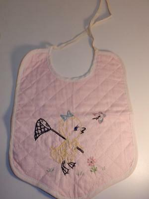 Antique Vintage Embroidered 1940S Baby Bib Pink W/ Duck Catching Butterly