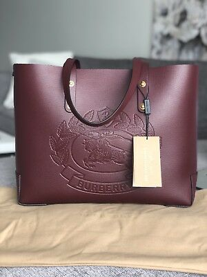a8b12a595c 100% Authentic Burberry Embossed Crest Small Leather Tote