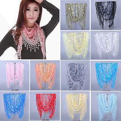 Women Rose Floral Knit Lace Tassel Mantilla Triangle Hollow Scarf Shawl Wrap HG