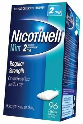 Nicotinell Regular Strength 2 Mg Mint Chewing Gum (96 Pieces Sugar Free)