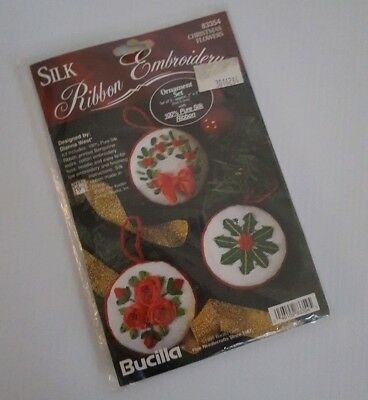 Bucilla Silk Ribbon Embroidery Christmas Flowers Ornament Kit 83354 1995