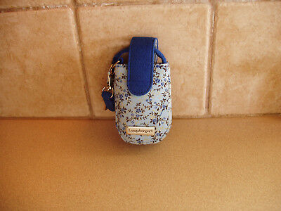 Longaberger Blue Vintage Floral Phone Wristlet Clip-On Carry Case Nip Free Ship