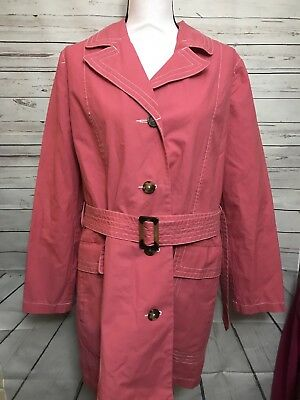 Old Navy Womens Size Medium Maternity Pink Button Coat Trench Fall Winter