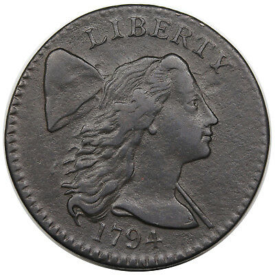 1794 Liberty Cap Large Cent, Head of 1794, S-30, VF-XF detail