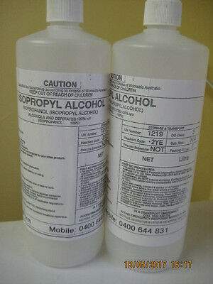 ISOPROPYL ALCOHOL , ISOPROPANOL,IPA  100%  2X1 litre bottles    **  Pick up ONLY