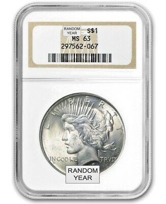 1x Random Pick year 1922-25: Silver Peace $ Dollar Graded MS-63 PCGS FirstStrike