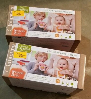 Infantino Squeeze Pouches, 50 Ct. Pouches New 4 oz BPA free