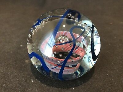 Signed Henry Summa Art Glass Swirl Controlled Bubble Paperweight Blue