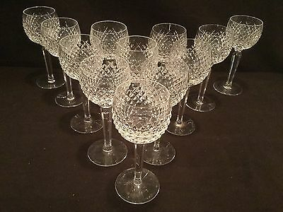 Set Of 12 Waterford Crystal Tall Wine Hocks In The Alana Pattern