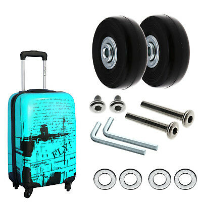 2Pcs Luggage Replacement Wheels Axles Rubber Deluxe Repair OD 50mm New