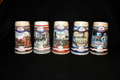 Miller Beer Steins - Complete 5 stein set of Great American Achievements Series