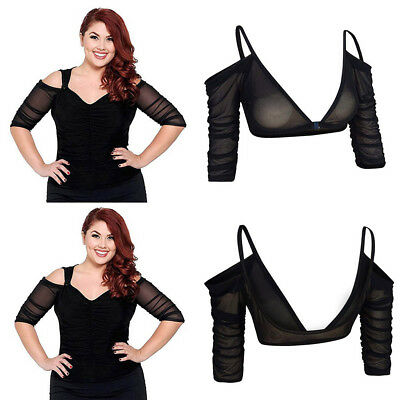 Plus Size Women Both Side Wear Sheer Seamless Arm Shaper Top Mesh Shirt Blouses