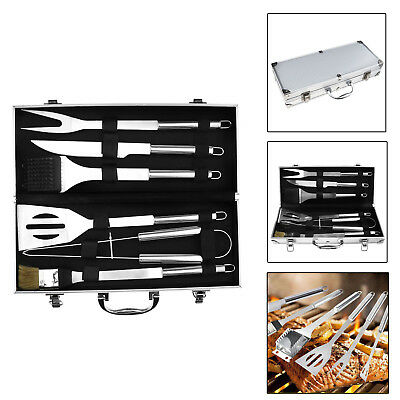 BBQ Barbecue 6 Piece Stainless Steel Tongs Fork Brush Cutlery Tool Set & Case