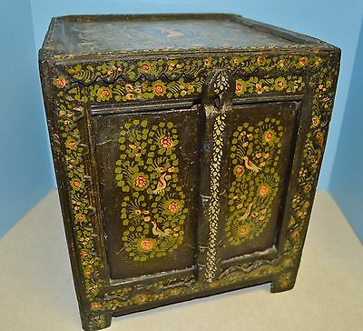 Primitive Hand Carved Painted 17-18Th C Persian Mediterranean Dowry Alms Box