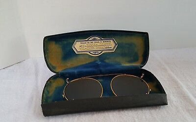 Antique Clip On Sunglasses With Hard Case Gold Tone Green Glass