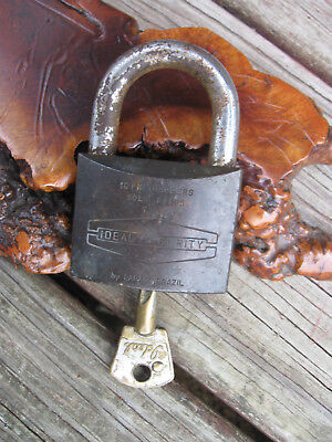 Vtg Antique Ideal Security Padlock Brass by Pazpraiz 16 Pin Tumblers Made Brazil
