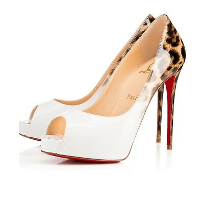 size 40 3c69d cd682 NIB CHRISTIAN LOUBOUTIN New Very Prive 120 White Leopard Patent Heel Pump  35.5