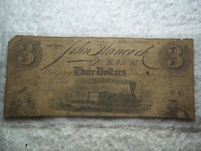 1840 $3 JOHN HANCOCK Bank Springfield Massachusetts MA Obsolete Currency #O-64