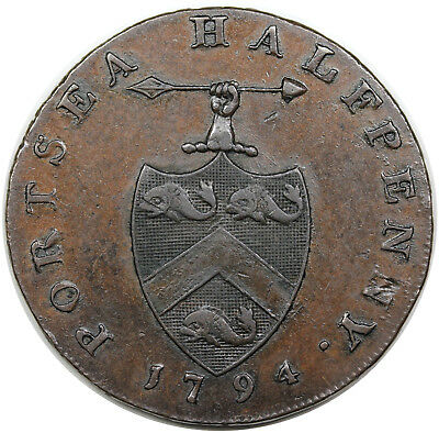 1794 Great Britain Halfpenny Conder Token, Hampshire: Portsea, DH-73, choice XF