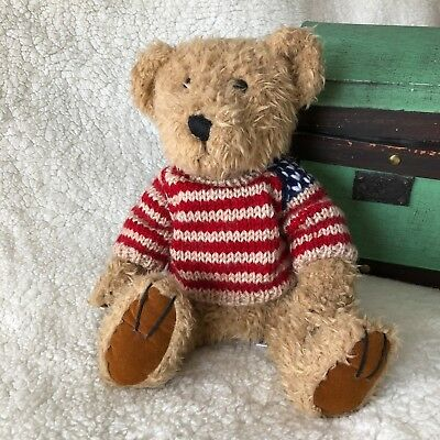 Teddy Bear, w/ Red,Cream & Blue Sweater, by KellyToys, Vintage 1990