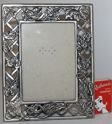 Vintage Pewter Frame GrapeVine Trellis Glass Stand Photo Picture Solid 14 x 18cm