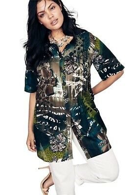 af7717c3c94 ROAMANS WOMEN'S PLUS Size 26W Tunic In Crinkle Crepe in Jungle Green ...