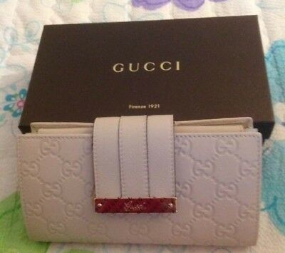 4be42f713f1693 Nwt Authentic Gucci Wallet Women's Guccisima Leather Continental Cream