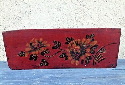 Antique Chinese Hand-Painted Red Lacquered Varnish Wooden Long Bowl /planter
