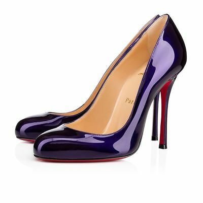 4c259ad4025 NIB Christian Louboutin Fifetish 100 Blue Electro Patent Leather Heel Pump  40.5