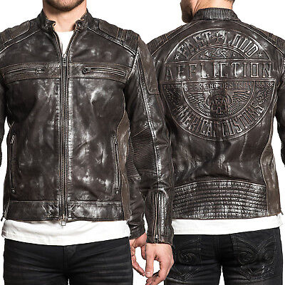 49207b694 AFFLICTION AMERICAN CUSTOMS - BIKE CUTTER - Men's Leather Biker ...