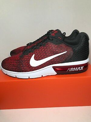 257fc0771f4 Nike Air Max Sequent 2 Black Red 852461-006 Running Shoes Men s - Size