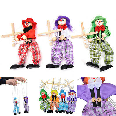 Kids Pull String Clown Wooden Marionette Handcraft Toys Joint Move Doll Reliable
