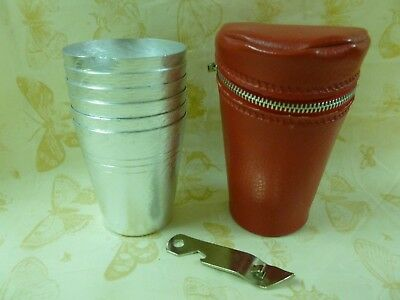 Vtg Retro Nickel-Silver Picnic Stackable Travel Cups w/can Opener in Carry Case