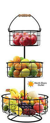 Fruit Vegetable Snack Basket Holder Decorative Tabletop Bowl Countertop Stand
