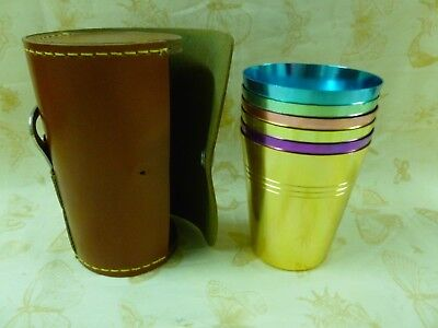 Vtg Harlequin Picnic Stackable Travel Cups w/can Opener in Leather Carry Case
