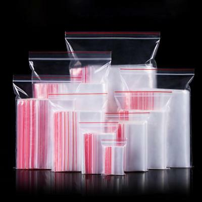 100pcs Resealable Plastic Bags Red Grip Self Press Seal Zip Lock Packaging Bag