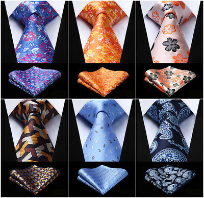 Men's Floral Paisley Silk Necktie Handkerchief Set Party Wedding Classic Ties