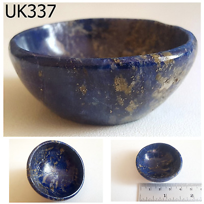 ANTIQUE Egyptian Style Lapis wPyrite Carved Bowl Trade #UK337a
