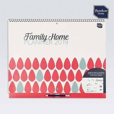 Boxclever Press Family Home Planner Calendar 2019. Month-to-view layout.