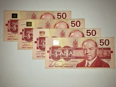 Canada Fifty 50 Dollar Banknote Bill Currency Canadian 1988