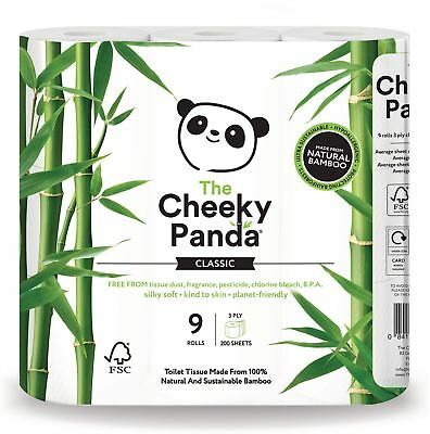 Cheeky Panda 100% Bamboo Toilet Tissue 9 Pack (Pack of 5)