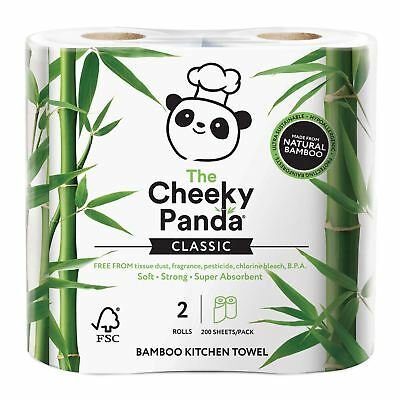 Cheeky Panda 100% bamboo kitchen towel 2 rolls 200 sheets per pack (Pack of 5)