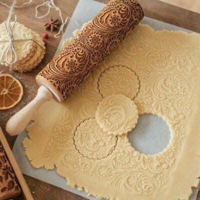Engraved rolling pin wooden laser cut ANY PATTERN unique design cookies embossed