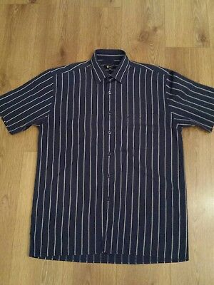 Mens Gabicci Striped Shirt,80's Casuals,m/l,navy,immaculate Condition