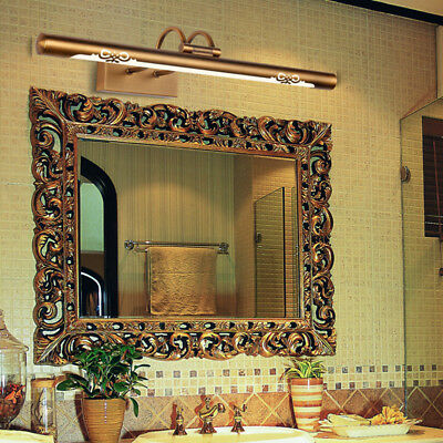 Antique Style Brass Metal Tube LED Curved Arm Vanity Wall Lights Mirror Sconces