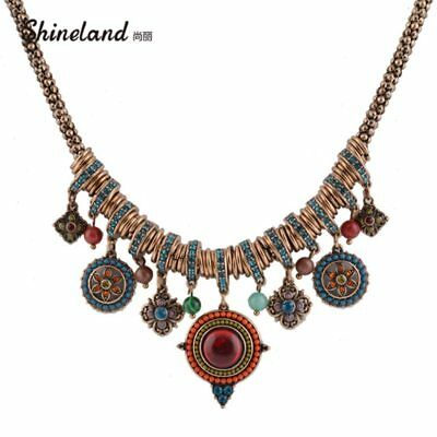 Vintage Bohemia Style Fashion Jewelry Gold-color Round Shape Colorful Resin